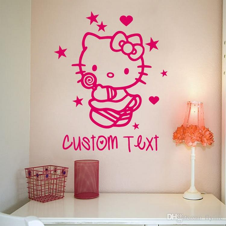 Personalized Girls Name Vinyl Wall Sticker Cartoon Wall Decals for Kids Room Decoration