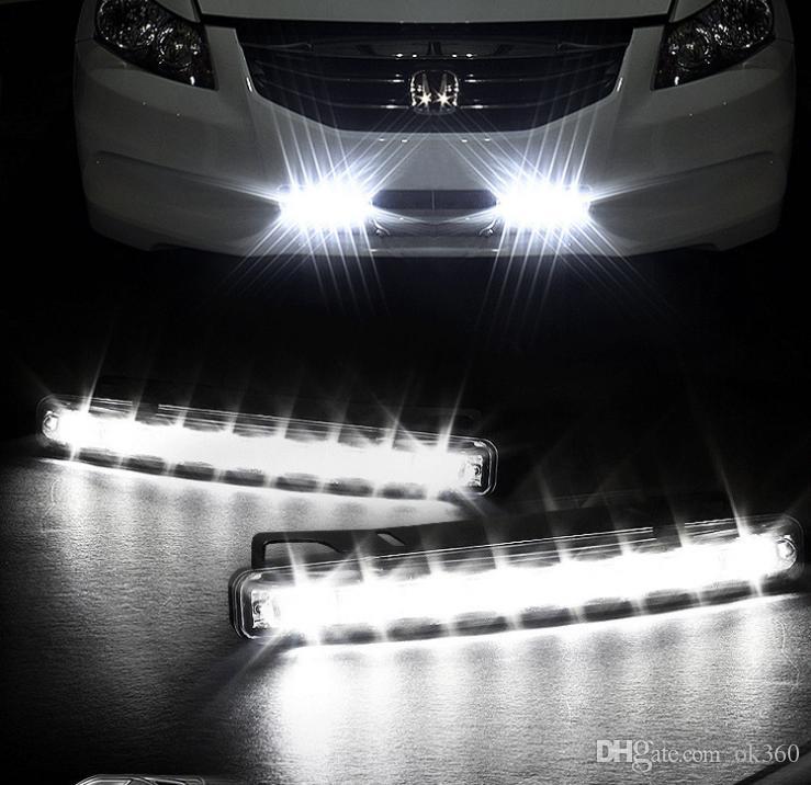 Super White 8 LED Super Bright White DRL Car Daytime Running Light Head Lamp Universal IP67 Waterproof Day Lights Running Head Lamp