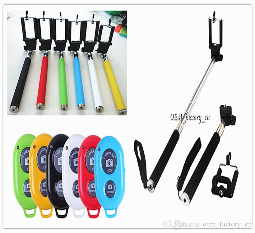 Extendable Handheld Monopod Selfie Stick + Bluetooth Remote Shutter Controller Self-timer for iPhone 6s Samsung S7 edge S6 Android IOS