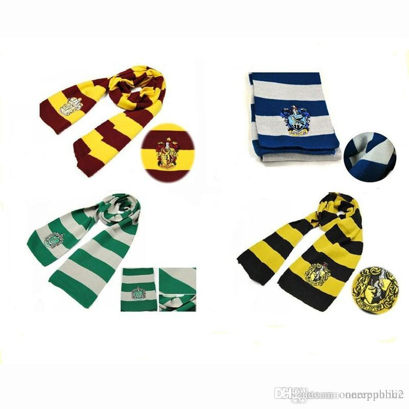 New Fashion 4 Color Harry Potter Scarves Movie Fans' Favorite School Unisex Striped Gryffindor Scarf 50pcs/lot Free Shipping 00966