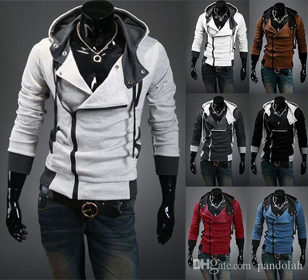 2017AutumnMen Jacket Stylish Winter Thicken Coat For Men Sweatshirts Fit Slim Hoodies Slant Zip Cotton Blend Patchwork Color US Size XS-2XL