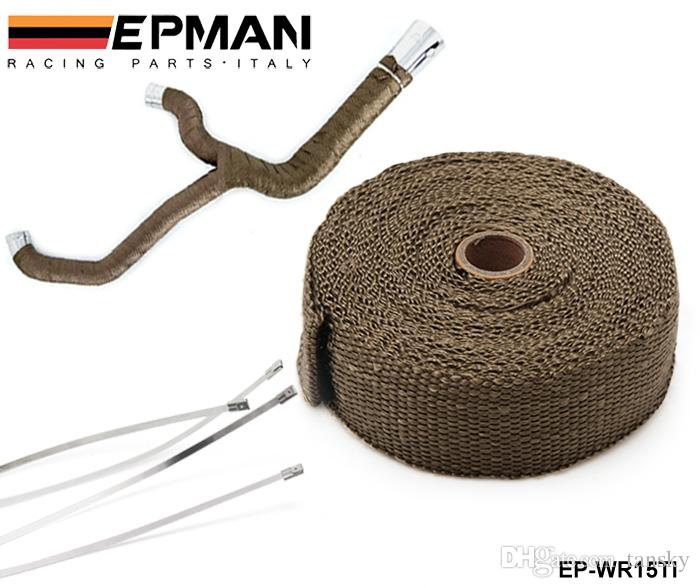 """Tansky -- High Quality TITANIUM TURBO MANIFOLD HEAT EXHAUST THERMAL WRAP TAPE & STAINLESS TIES 2""""""""X10meter"""" EP-WR15TI"""