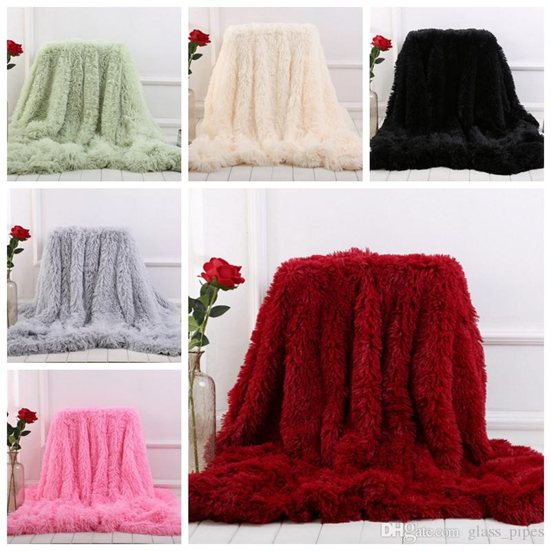Fleece Blankets Fluffy Plush Throw Blanket Air Conditioning Blanket Solid Wedding Bedspreads Bedding Supplies 13 Colors 2pcs YW1571