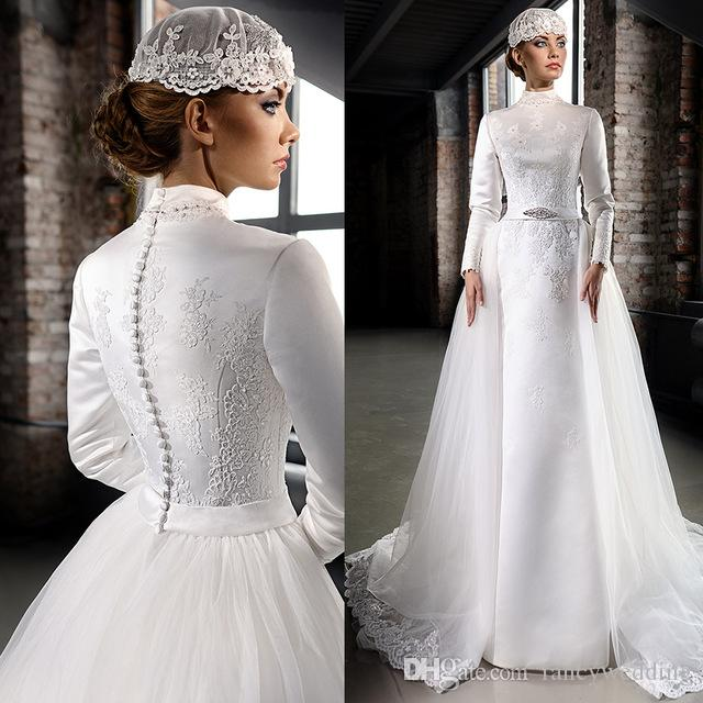 Muslim White Gorgeous High Neck Long Sleeves Lace Applique Beaded Covered Button Sweep Train Wedding Dresses Custom Made