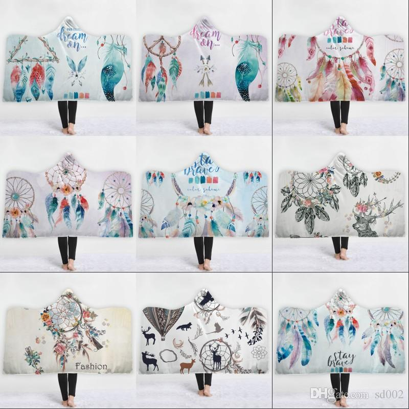 Dreamcatcher Hat Cloak Blanket Printed Dream Catcher Adult Children Beach Towel Winter Thickened Double Plush Hooded Cloaks 70jm2 hh