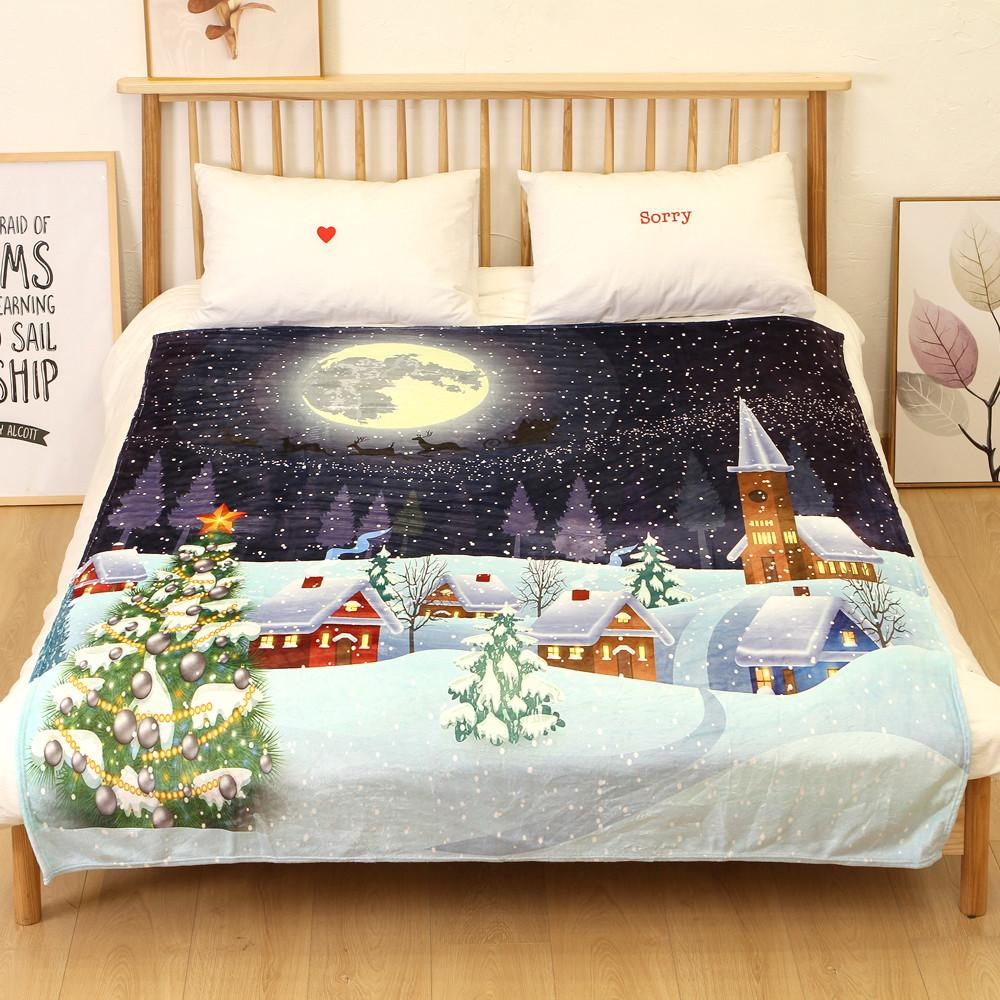 Christmas Blanket Flannel Fabric Sofa Bed Blanket 150X200CM Hippie Pug Sherpa on Beds Animal Cartoon Plush Throw