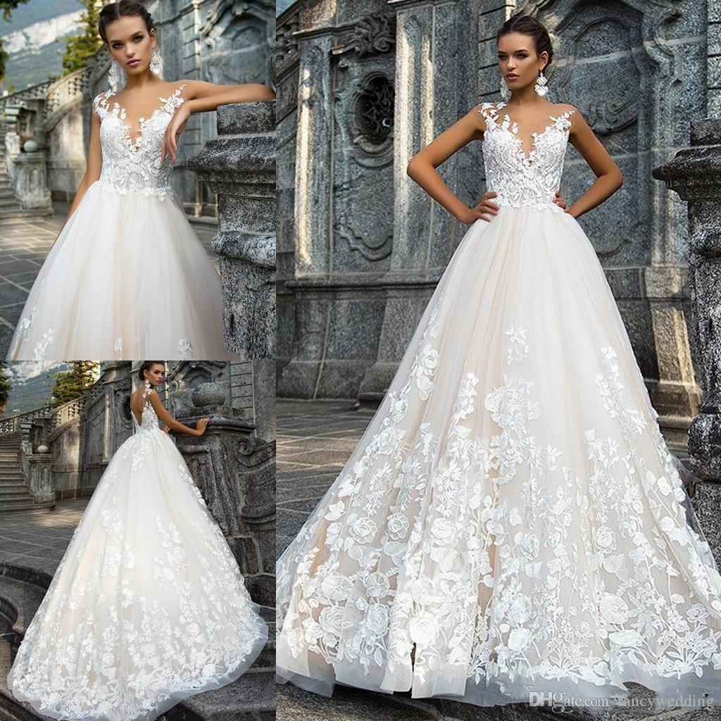Gorgeous Jewel A Line Lace Applique Sweep Train Sexy Wedding Dresses Wedding Gown Custom Made D75