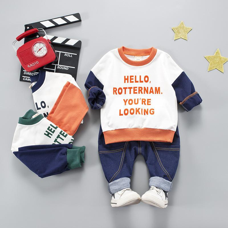 0-4 years 2019 spring autumn new active letter kid children baby boy clothing baby boy clothes hoodies+pant 2pcs clothing set