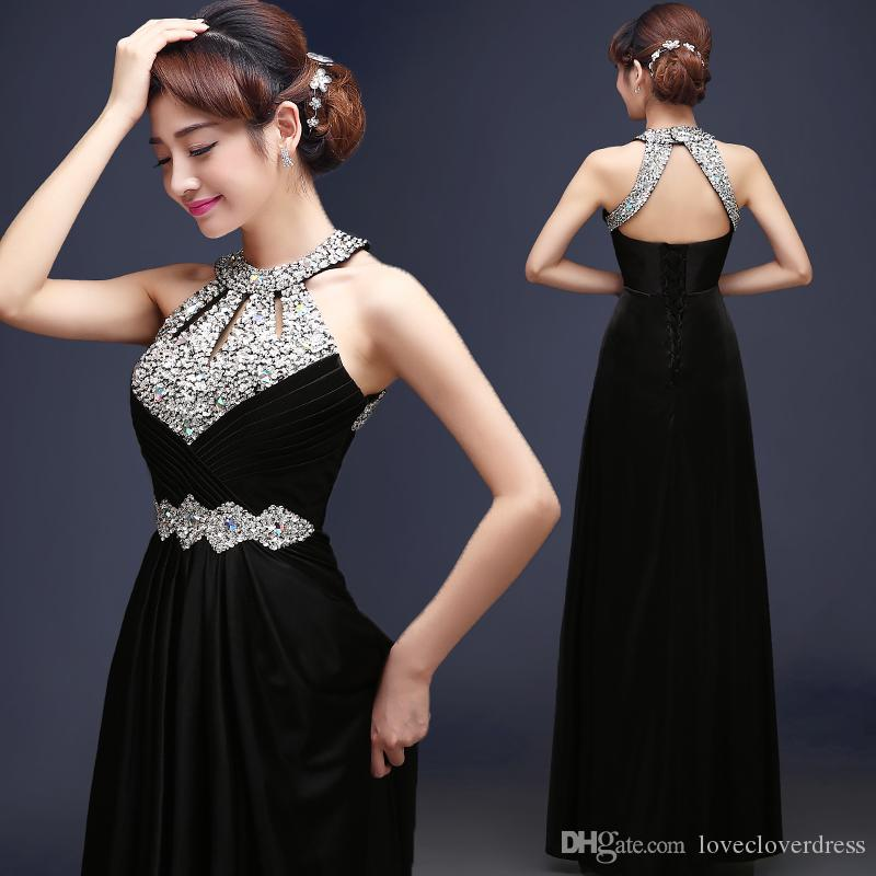 2017 A Line Elegant Prom Long Evening Dresses Sexy Backless Sequins and Crystals Special Occasion Dresses Evening Party Gowns