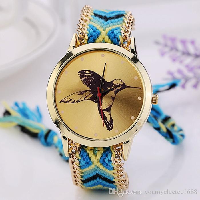 2015 New Fashion Geneva Watch Causal Women Dress Watch Bird Quartz Friendship Wristwatches Handmade Braided Rope Bracelet Watch