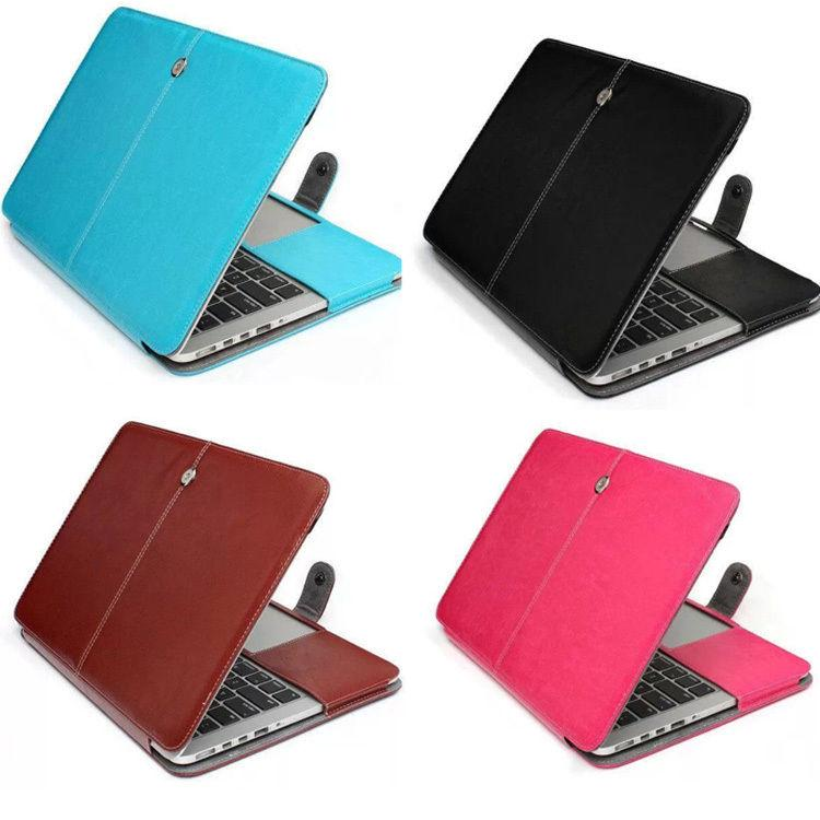 Faux Leather Laptop Folio Book Wallet Cover Case For MacBook Pro, With Retina Display, Air 11/ 13/ 15 inch