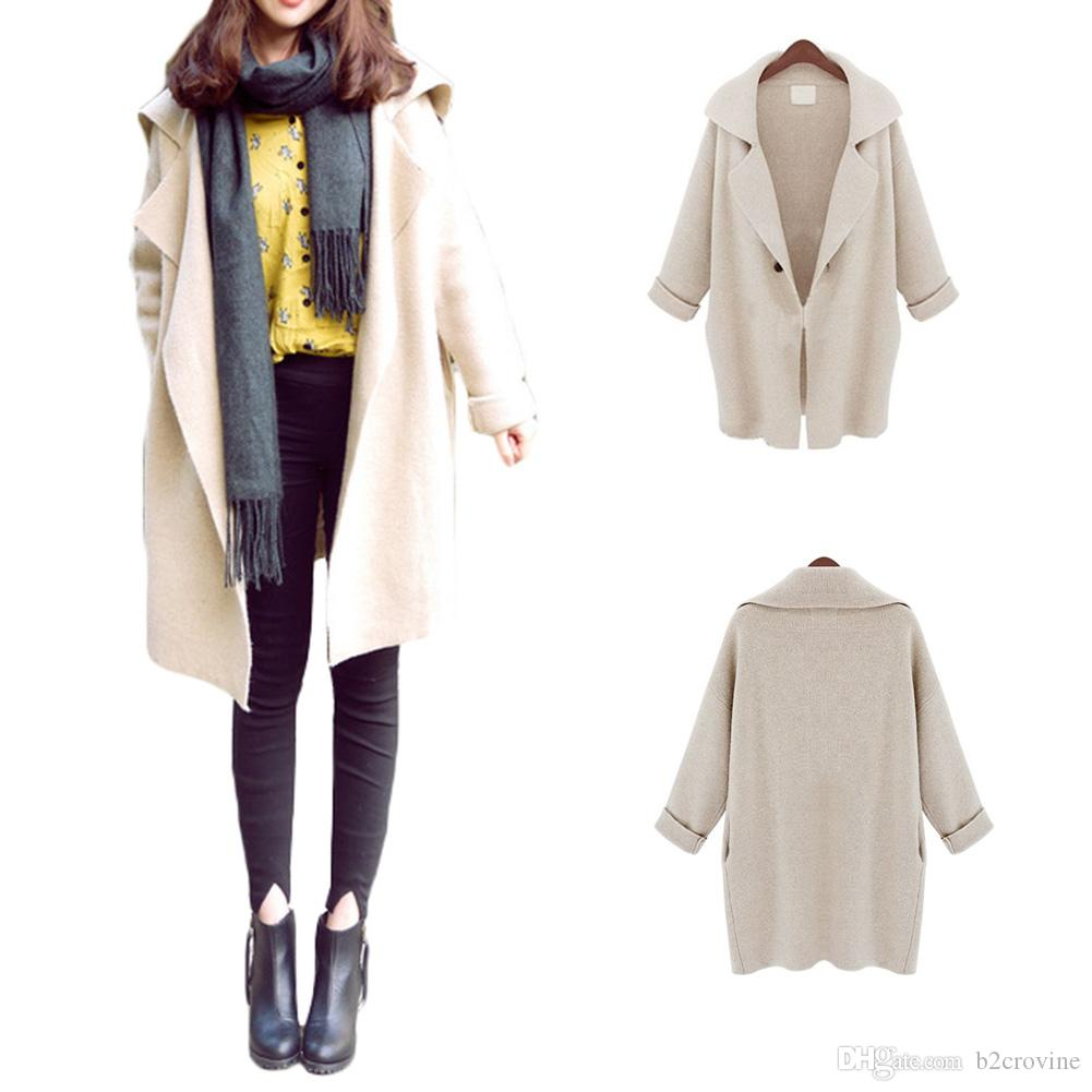 S5Q Women's Ladies Wool Blend Long Sleeve Jacket Cardigan Coat Parka Windbreaker AAADUT