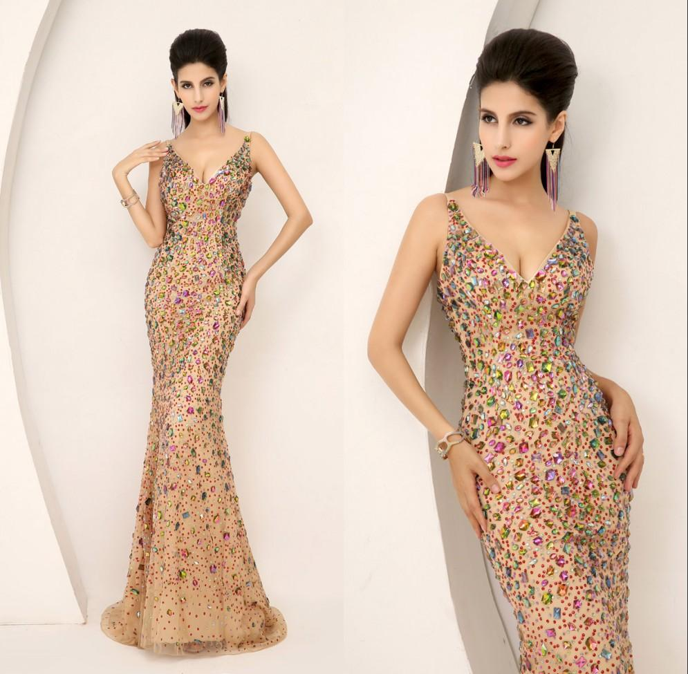 2015 New Evening Gown Prom Pageant Dresses Ready To Wear Real Image Dazzling Luxury Plunging Neckline Full Beaded Crystal Champagne