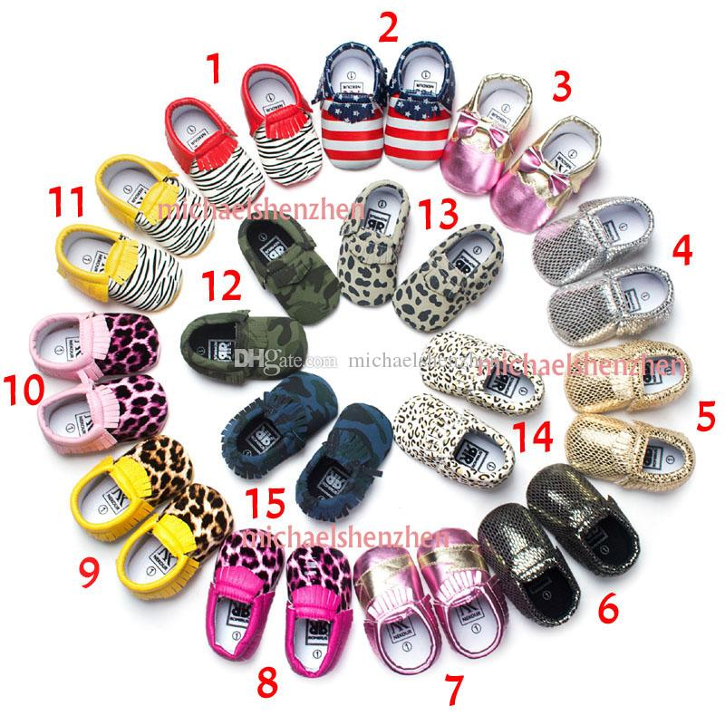 15 Color Baby moccasins soft sole 100% genuine leather first walker shoes leopard print newborn stripe shoes Tassels maccasions shoes B001