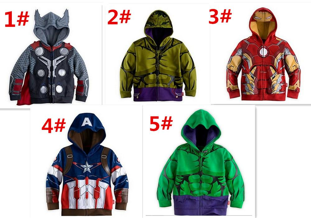 New Super hero baby T-shirt clothing The Avengers cartoon hoodies Captain America Hulk Iron man batman zipper outerwear hoodies D318