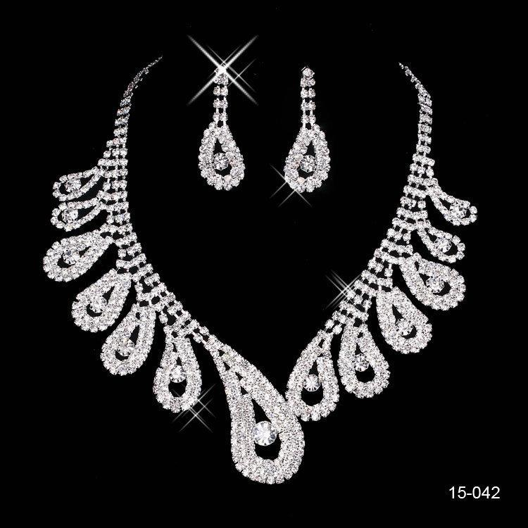 2016 New Jewelry Necklace Earring Set Cheap Wedding Bridal Prom Cocktail Evening Dresses Rhinestone 15-042 In Stock Free Shipping