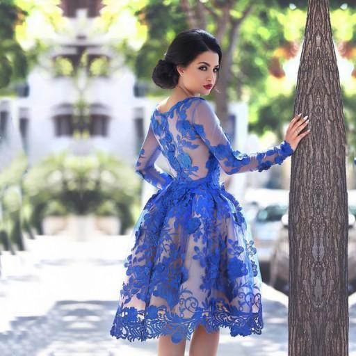 Royal Blue Prom Dresses Long Sleeves Knee-length 3D Floral Appliques Formal Gowns Arab Dresses