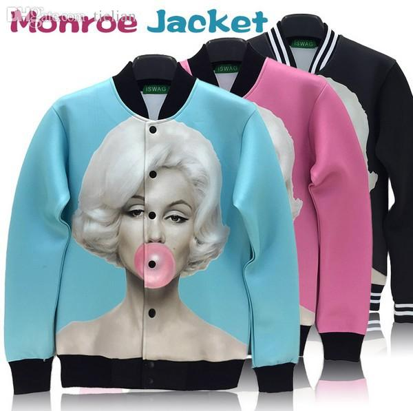 Wholesale-High quality Marilyn monroe print outdoor jacket sportswear women men windbreak coat classic marylin pattern autumn outwear