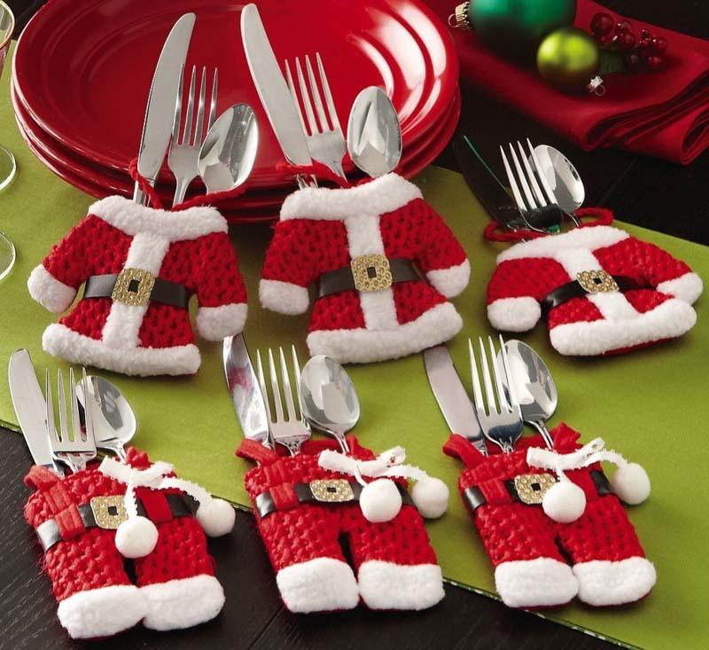 6pcs Santa Suit Christmas Silverware Holder Pockets 3 Pants + 3 Jacket B001