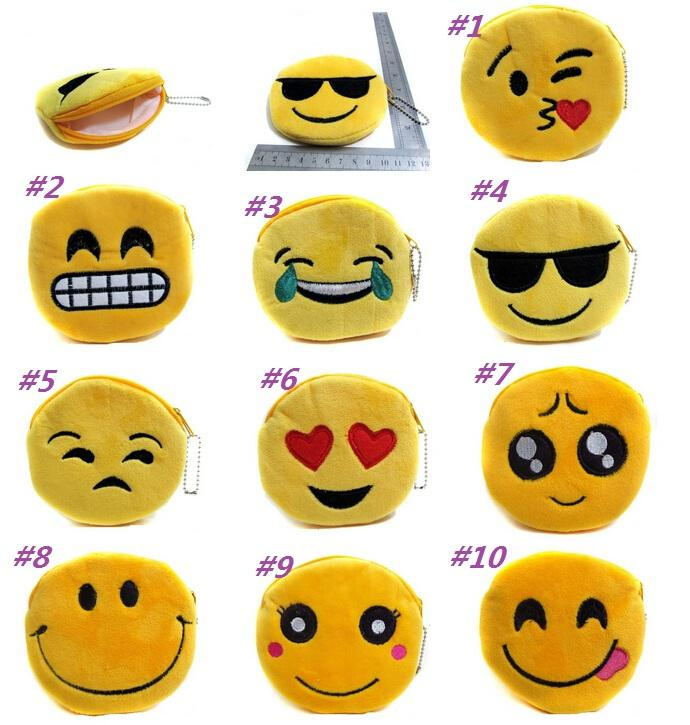 New QQ Expression Coin Purses Cute Emoji Coin Bags Plush Pendant Womens Girls Creative Chirstmas Gifts