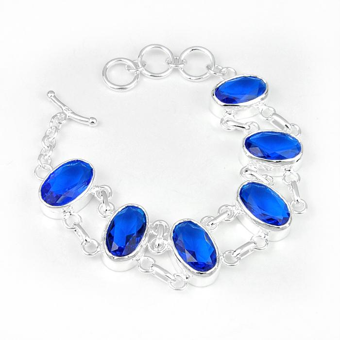 Holiday Jewelry Wedding Gift Mother Father Gift Oval Swiss Blue Topaz Gemstone Crystal 925 Sterling Silver Bracelet Bangle Wedding Jewerly