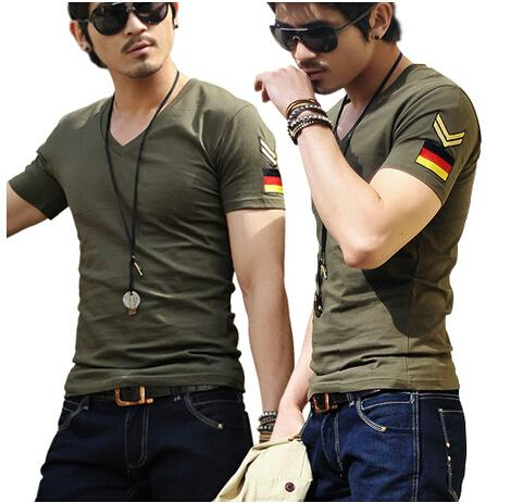 army military slim fit air forceT-shirt, New Men's Casual V Neck T-Shirts Tee Shirts Slim Fit Tops Short Sleeve T Shirt