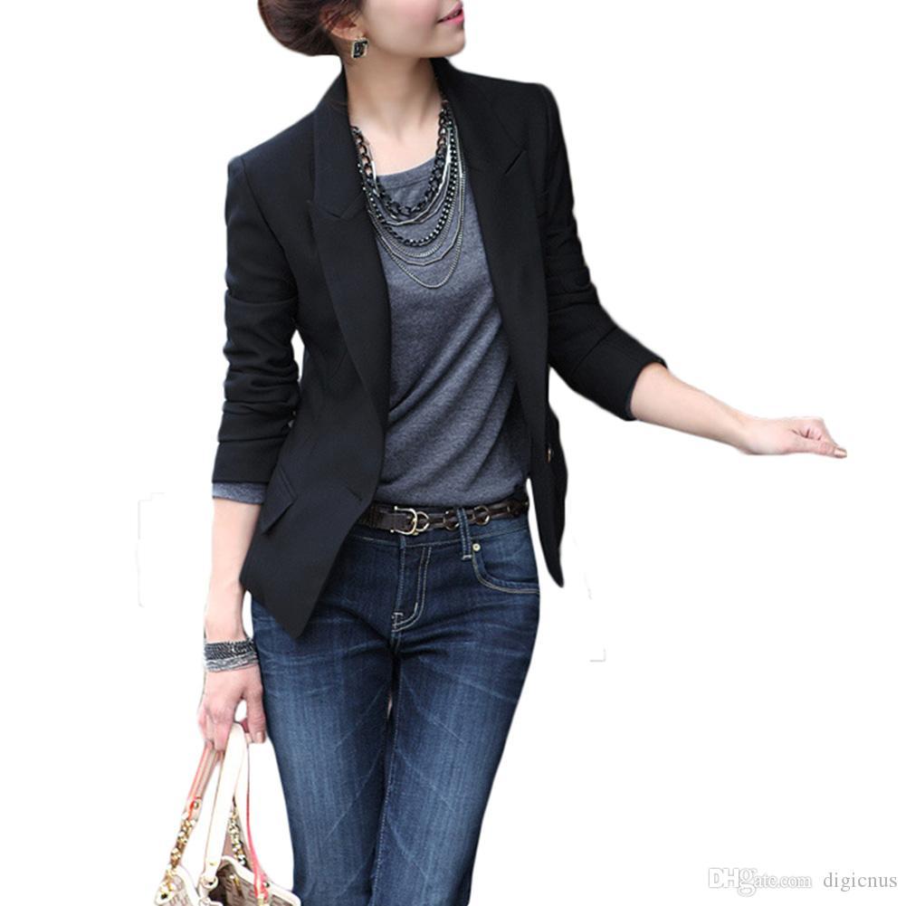 S5Q Womens Slim Business Suit Coat Warm One Button Warm Work Blazer Jacket Tunic AAAECH