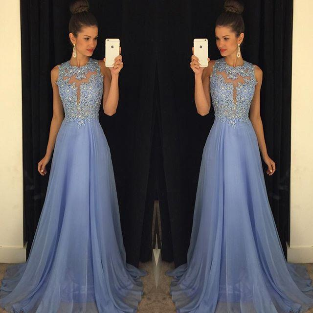 Lavender 2016 Prom Dresses Lace Applique Beads 2017 Formal Long Bridesmaid Dresses A Line Crew Neck Zip Back Chiffon Party Gowns
