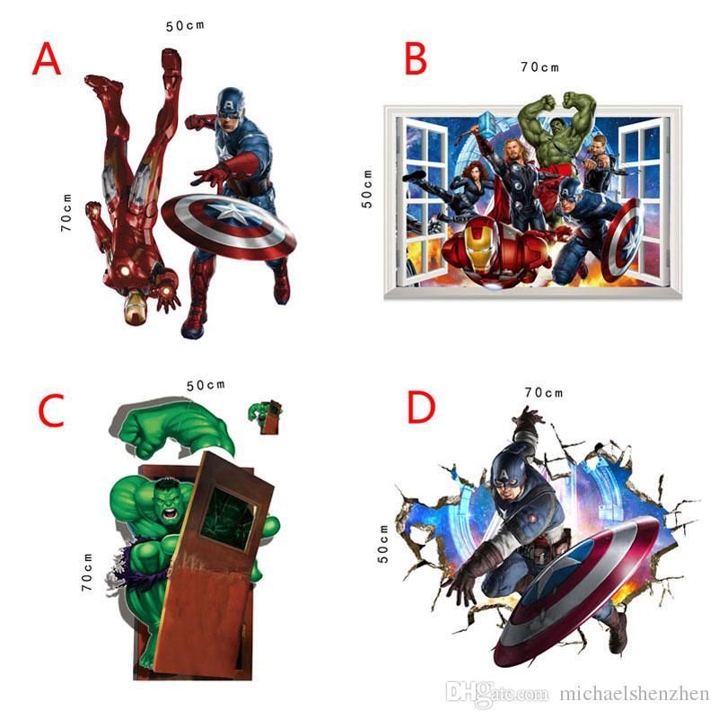 4 Style The Avengers Super Heroes wallpaper 2015 NEW Kids cartoon Hulk Captain America Iron Man Thor Wall stickers B001