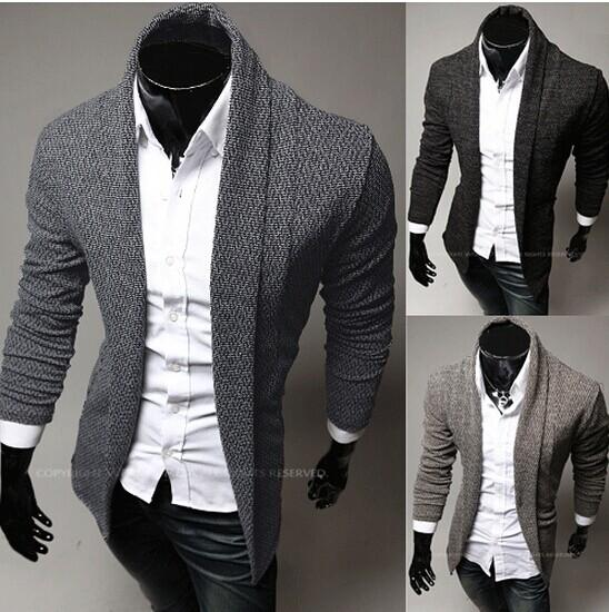 2014 new fashion slim men's Sweaters Cardigan Casual men's clothing Lapel mens's Sweatshirts blue gray 3444
