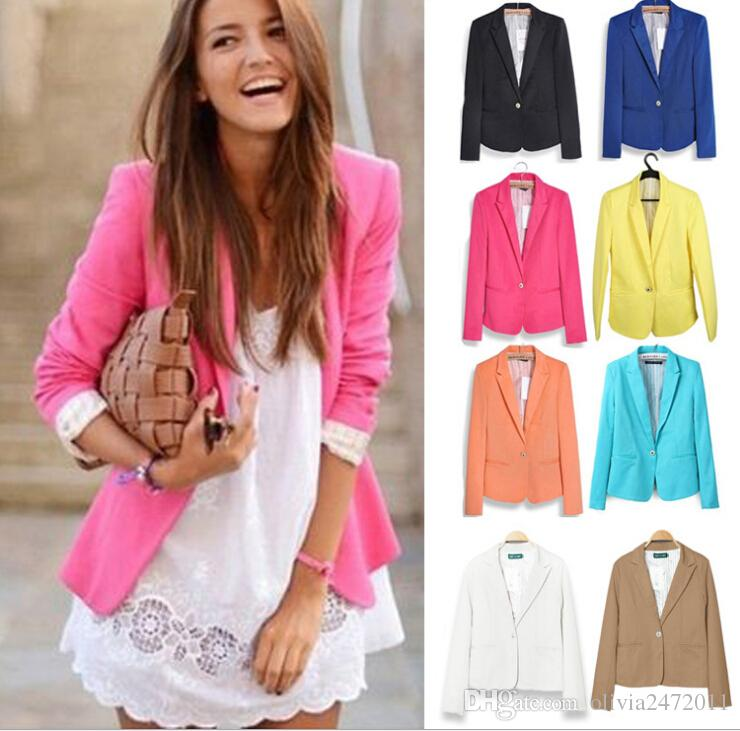 New Blazer Women Suit Blazer Foldable Jacket Lining Vogue Blazer Candy Color One Button Long Sleeve Jackets YZ