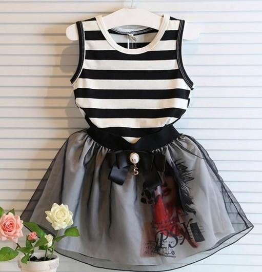 Girls Sets Summer Korean Kids Clothes Children clothing Striped Sleeveless T-shirts Shorts Skirts Kid Bow Tulle Printed Skirt Black I3399