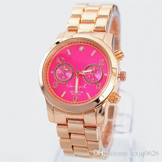 NEW Fashion luxury women watch pink dial/blue dial steel brand wristwatch Quartz Girl Japan Movement Wristwatch Clock
