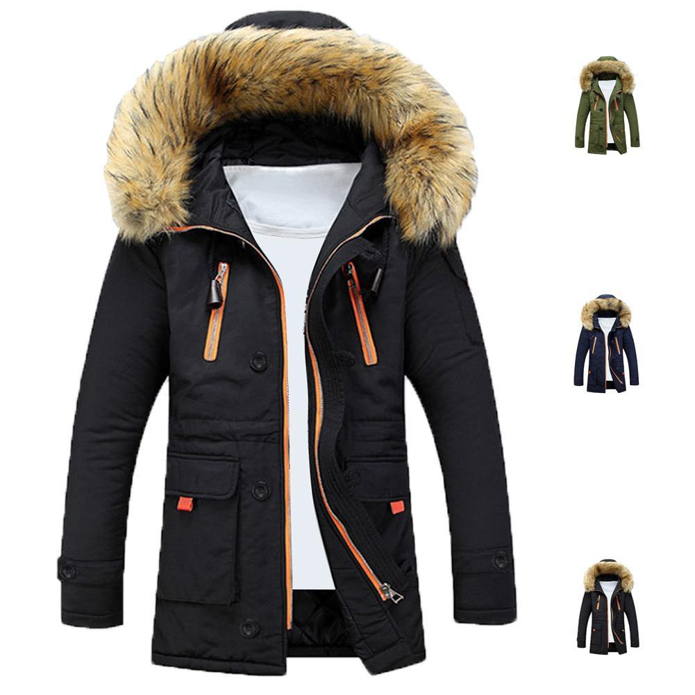 S5Q Mens Winter Fur Collar Lining Thick Parka Overcoat Padded Trench Jacket Coat AAAFLS