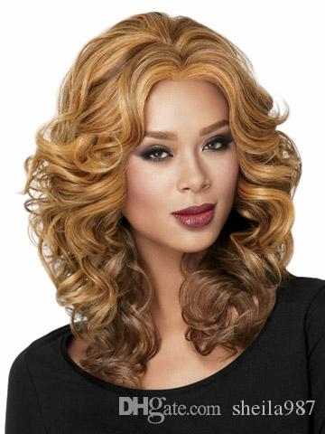 New Arrival Women's Middle Wave hair wig Color blonde Synthetic wig Fashion wig for Europe and America women