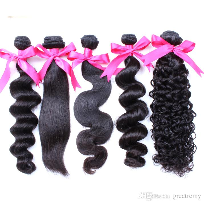 7A Brazilian Hair Weave Weft Body Wave Greatremy can be dyed Indian Malaysian Peruvian Hair Extensions Mink Deep Curl human Hair bundles
