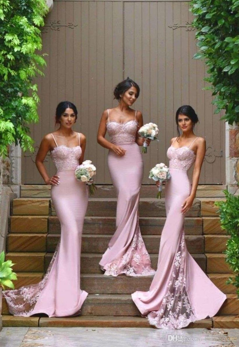 2016 Cheap New Designer Pink Sexy Column Bridesmaid Dresses Spaghetti Straps Sweetheart Lace Appliques Backless Maid Of the Honor Dresses