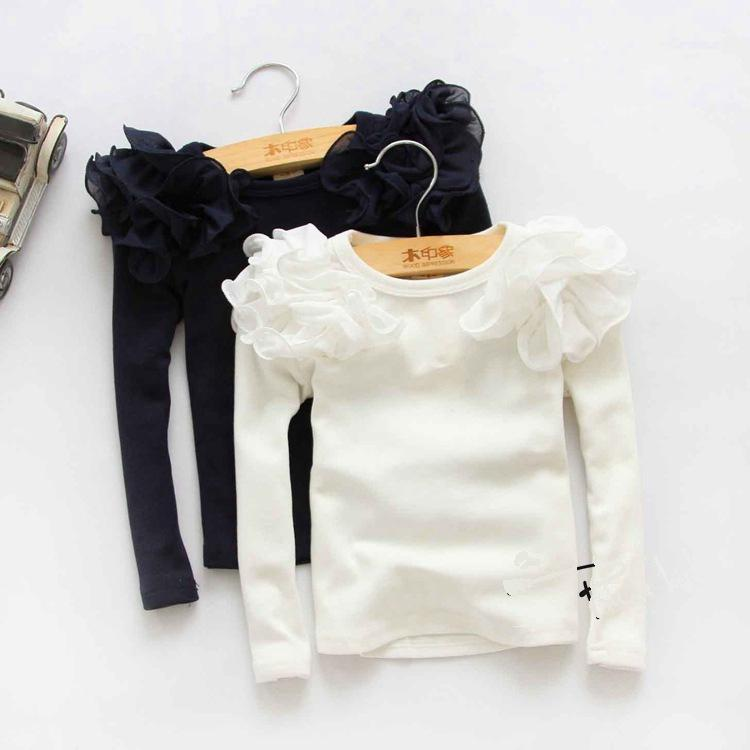 2016 New Kids Girls Puff Sleeve Shirts Spring Fall Ruffles Princess Party Tops Candy Color Long Sleeve Cotton Blouse tshirt 3color choose