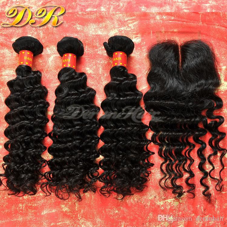 Lace Closure With Brazilian Hair Bundles Deep Wave Human Hair Weave Unprocessed Hair Indian Malaysian Peruvian Hair Extensions