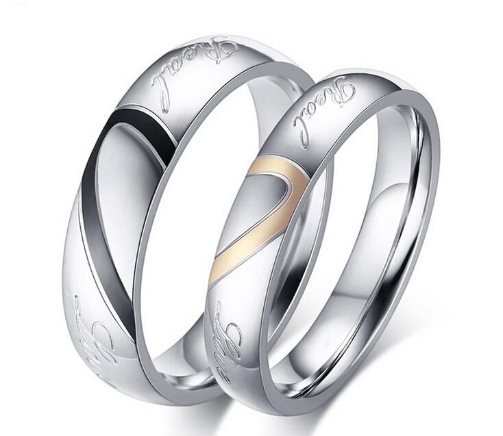 Fashion Real Love Heart Stainless Steel Couple Finger Rings New Engagement Wedding Lover Promise Rings Women Men Jewelry