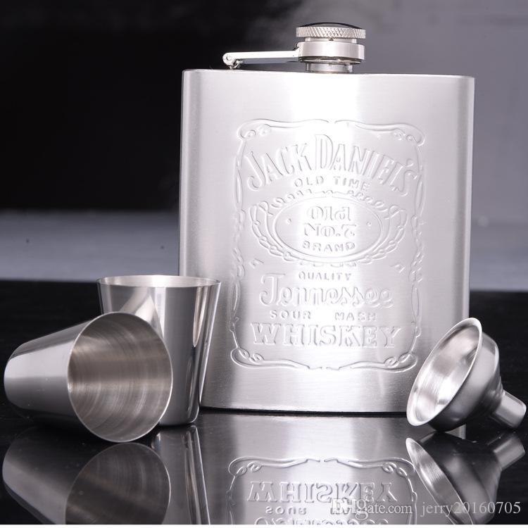 4pcs Set (1pcs Hip Flask 1pcs Funnel 2pcs Cup) Portable Stainless Steel 7oz Hip Flask Flagon Whiskey Wine Pot Bottle Gift