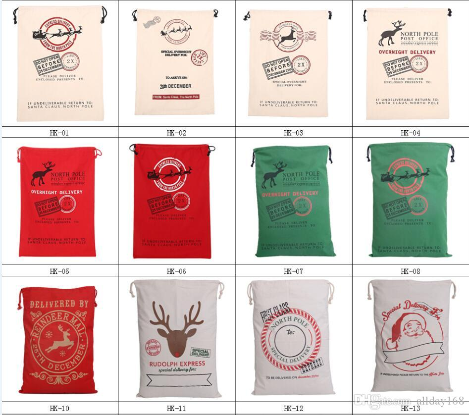 2017 Christmas Large Canvas Monogrammable Santa Claus Drawstring Bag With Reindeers, Monogramable Christmas Gifts Sack Bags fast shipping