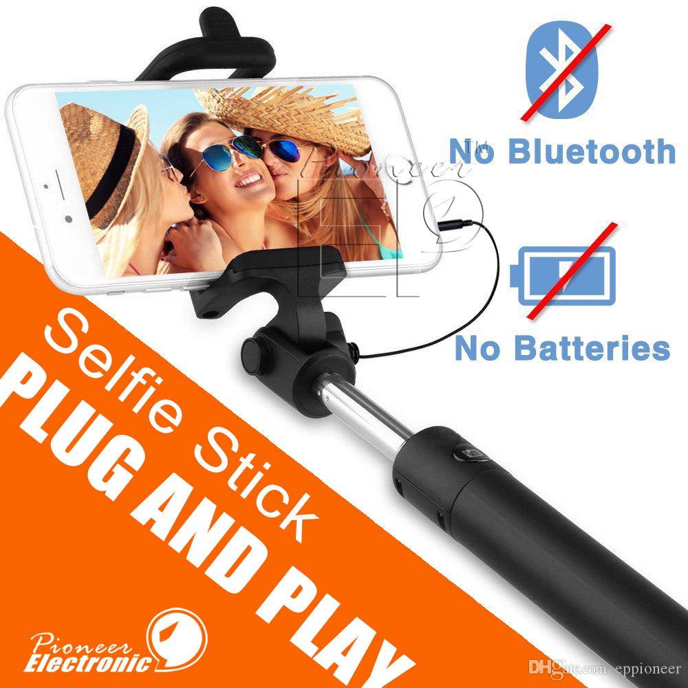 Wired Selfie Stick portrait Battery Free Monopod Extendable with built in Bluetooth Remote Shutter for iOS and Android Smartphones