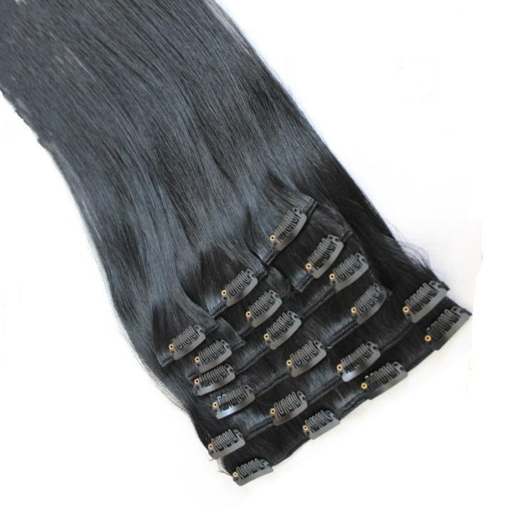 "20"" 24"" 10pcs/set Clip In/On Hair Extensions Brazilian Malaysian Peruvian Indian Remi Human Hair 120g/set Color #1"