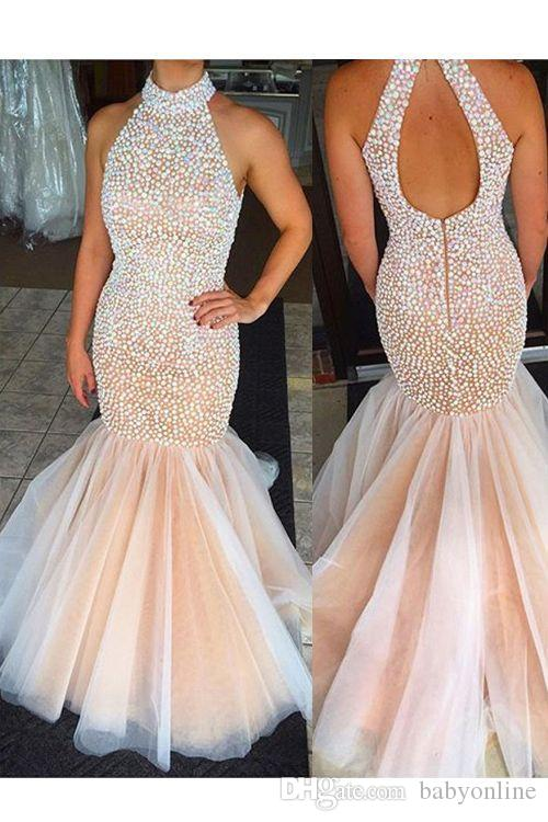 2016 New Halter Neck Mermaid Prom Dresses High Neck Champagne Keyhold Back Tulle Beaded Rhinestones Top Floor Length Party Evening Dresses