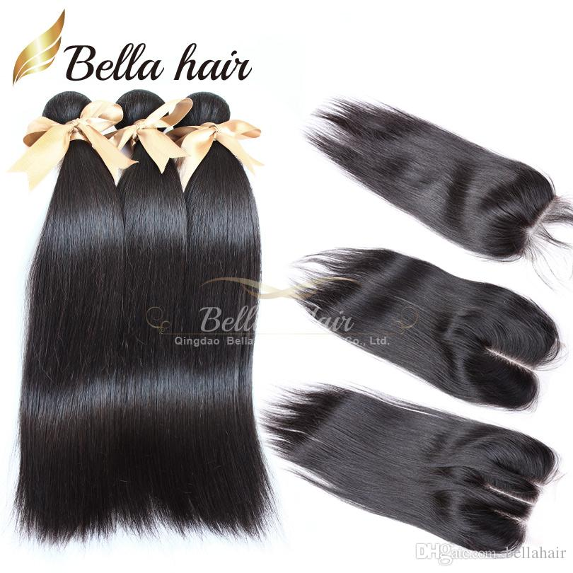Full Head 4PCS Peruvian Virgin Human Hair Wefts and Closure Weaves Lace Closure With Bundles Bellahair Silky Straight 7A