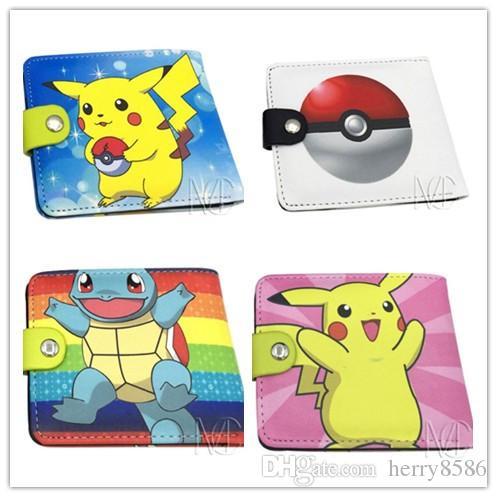 Poke Wallets Purse 17 Designs Pikachu Wallet Card Holder Poke Go Cartoon Students Wallets Free Shipping Hot Sale