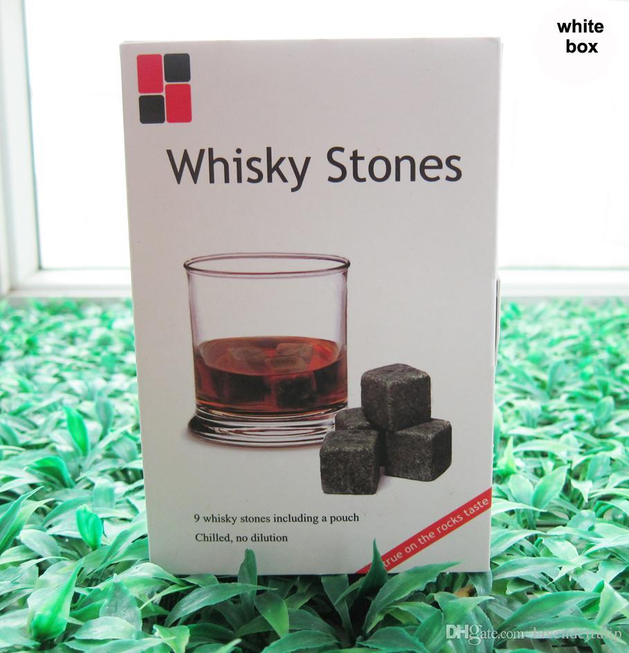 Christmas gift! Whiskey Rocks 9pcs/set in Delicate Gift Box+Velvet Bag Whisky stones Wedding Decoration