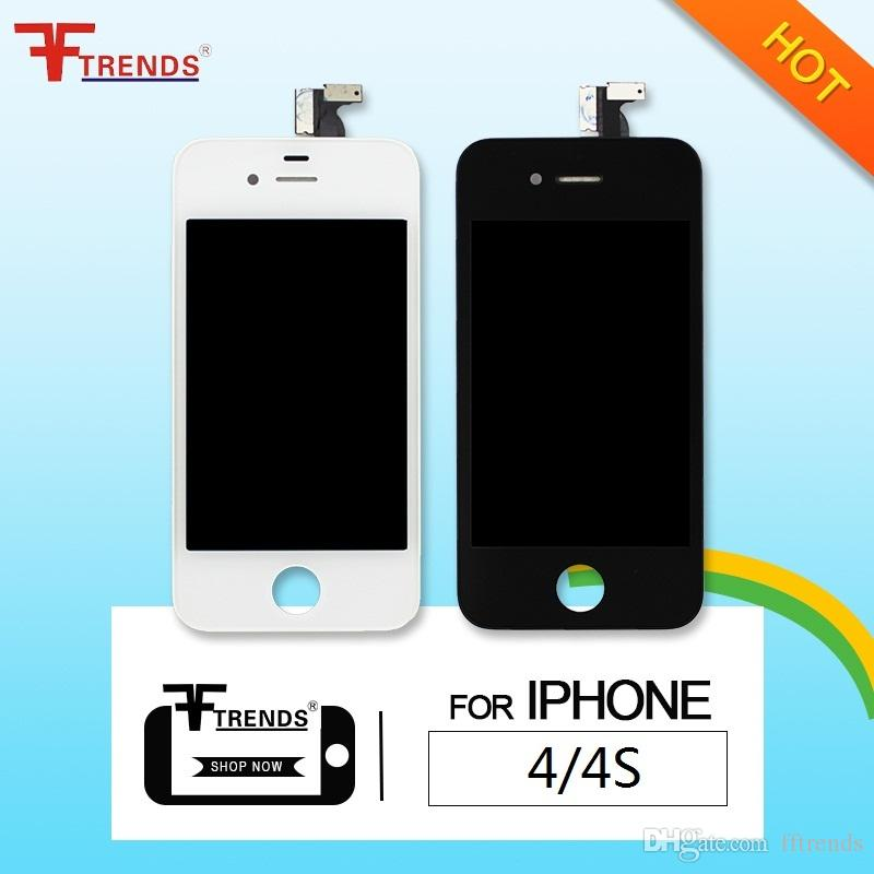 for iPhone 4 4S LCD Display & Touch Screen Digitizer Full Assembly Replacement Parts Cheap Price 50pcs/lot Black White Free Shipping