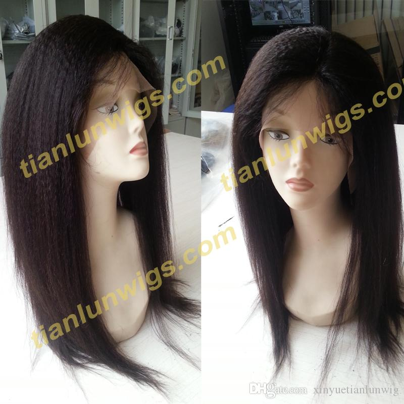 Free Shiping 16 inch #1B off black 100% Brazilian Remy Human hair Kinky Straight African American Full lace wig Front Lace Wig Hot Sale